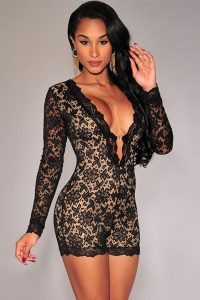 Long Sleeve Black Lace Romper
