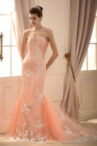 Peach Colored Wedding Gown