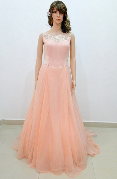 Peach Gown Dressed Up Girl