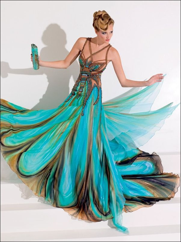Peacock Gown Dressed Up Girl