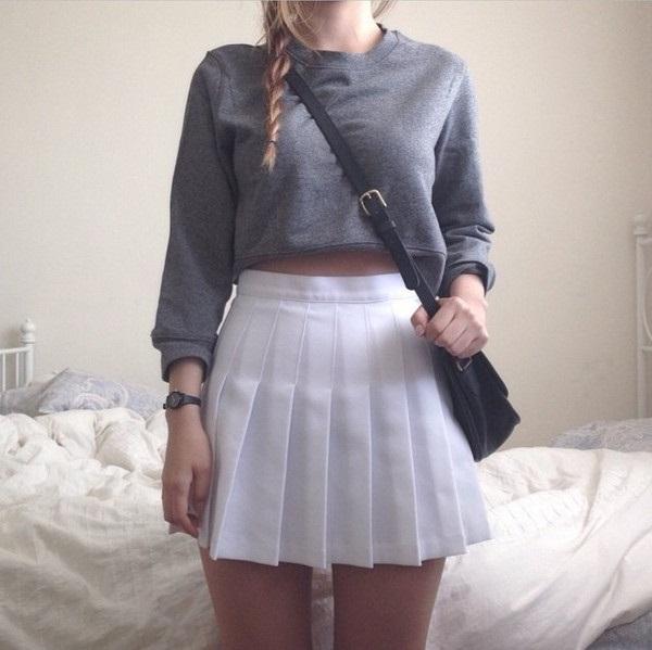 Short skirt big tits milf