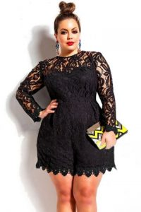 Plus Size Black Lace Romper