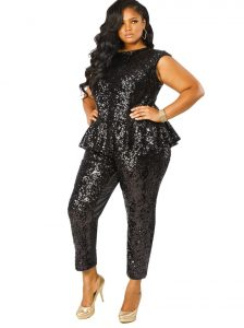 Plus Size Sequin Jumpsuit