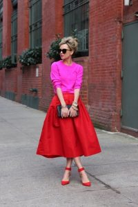Red Tibi Skirt