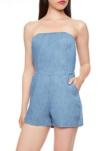 Strapless Chambray Romper