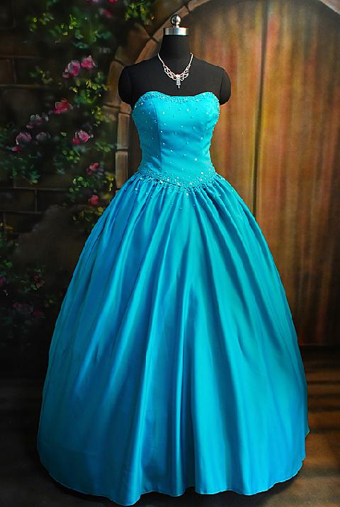 Teal Gown Dressed Up Girl