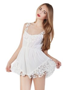 White Lace Romper Images