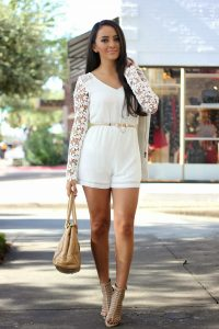 White Lace Romper Outfit