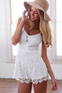 White Lace Romper Pictures