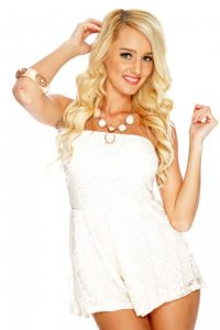 White Lace Strapless Romper