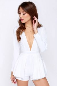 White Long Sleeve Romper