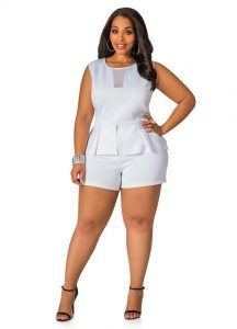 White Plus Size Romper