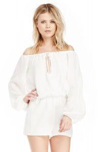White Silk Romper