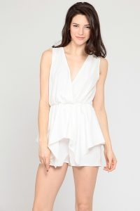White V Neck Romper
