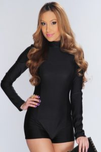 Womens Black Long Sleeve Romper