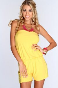 Yellow Strapless Romper