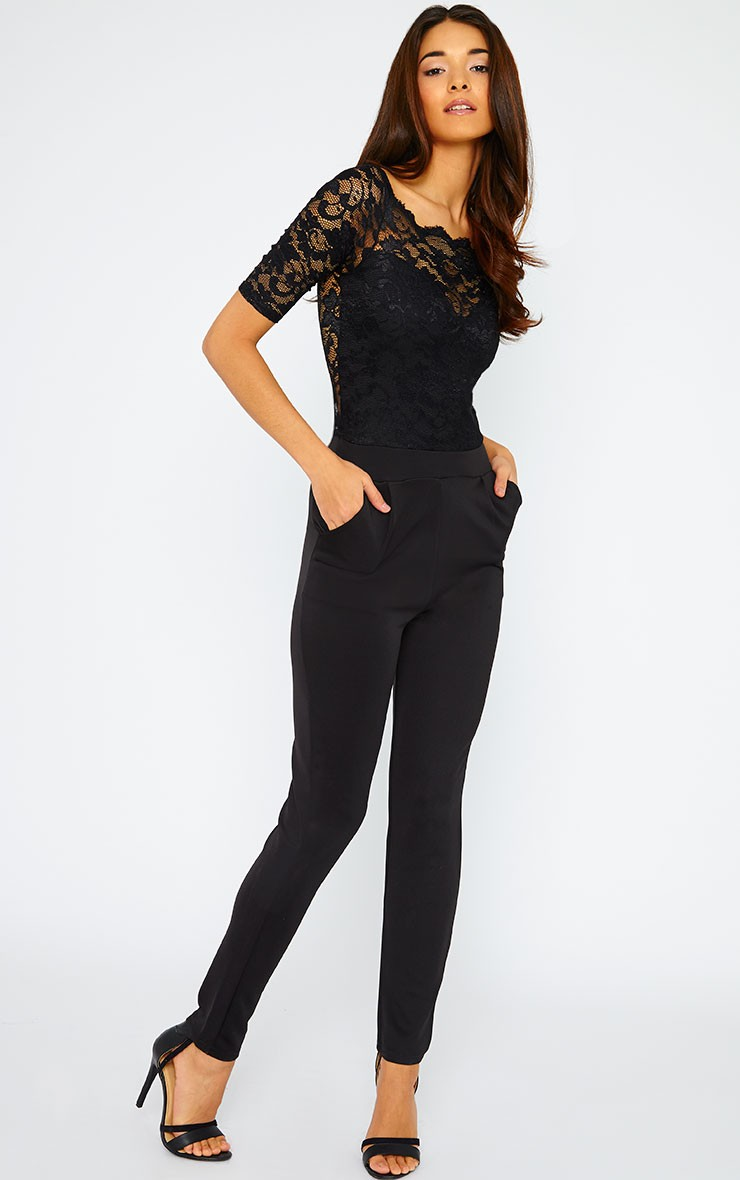Lulus Exclusive! Any occasion is sure to be extra special when you make your entrance in the Lulus Amora Black Lace Jumpsuit! Stunning floral lace sweeps over a nude knit lining to shape a deep V-neckline and a darted bodice.