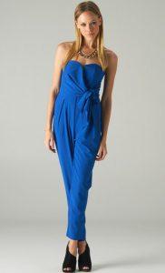Blue Strapless Jumpsuit