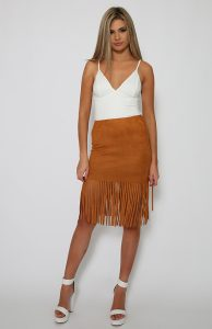Brown Fringe Skirt
