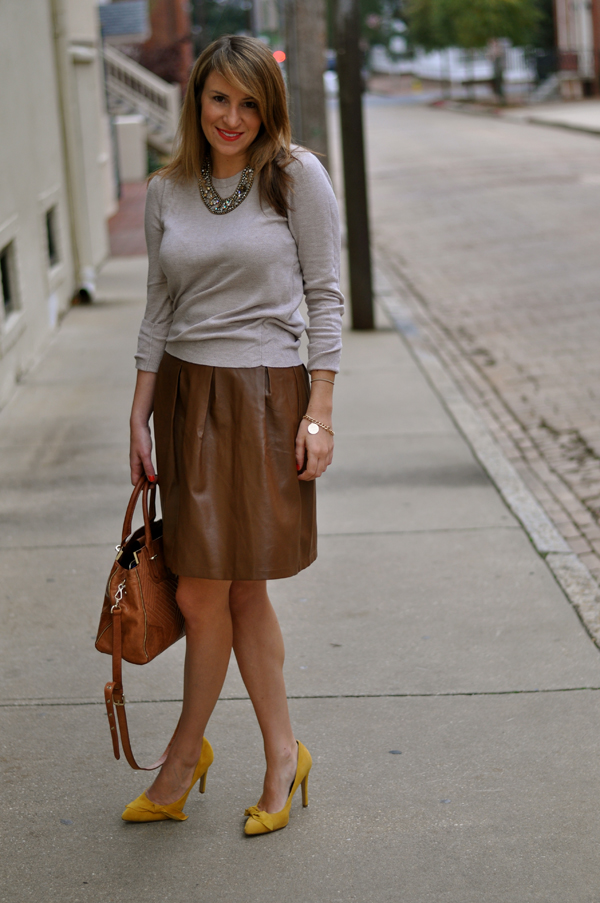 Brown Leather Skirt - Skirts