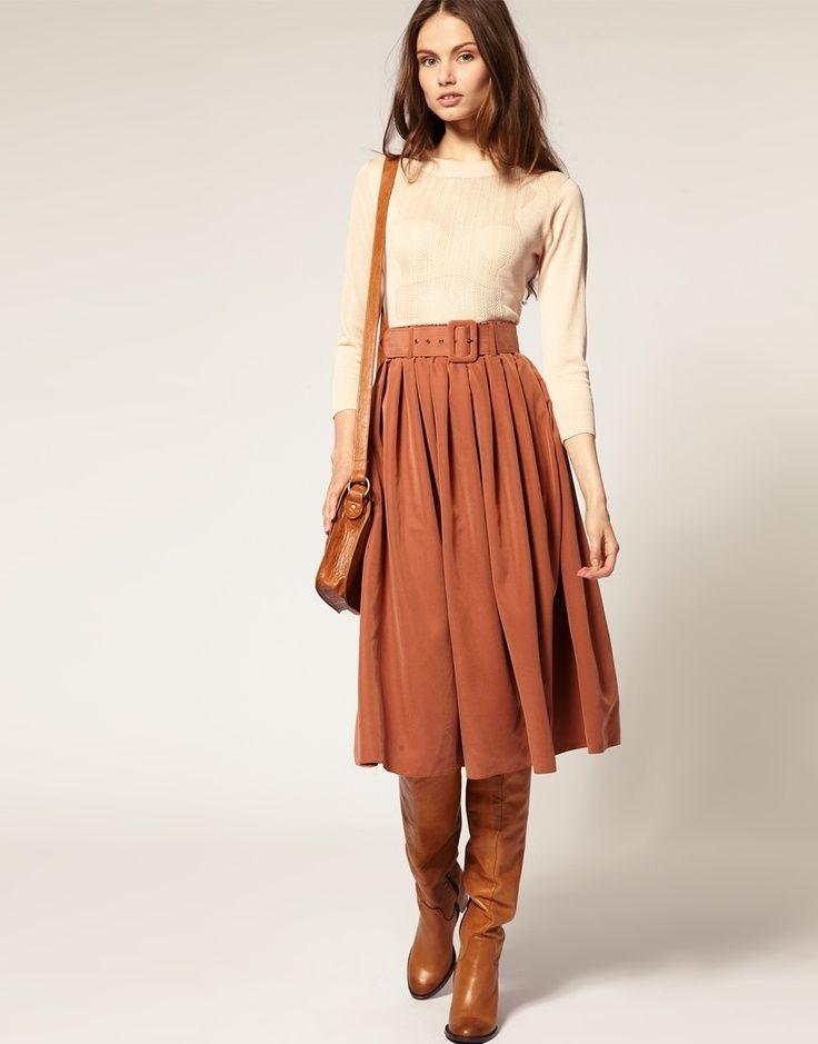 brown skirt dressed up
