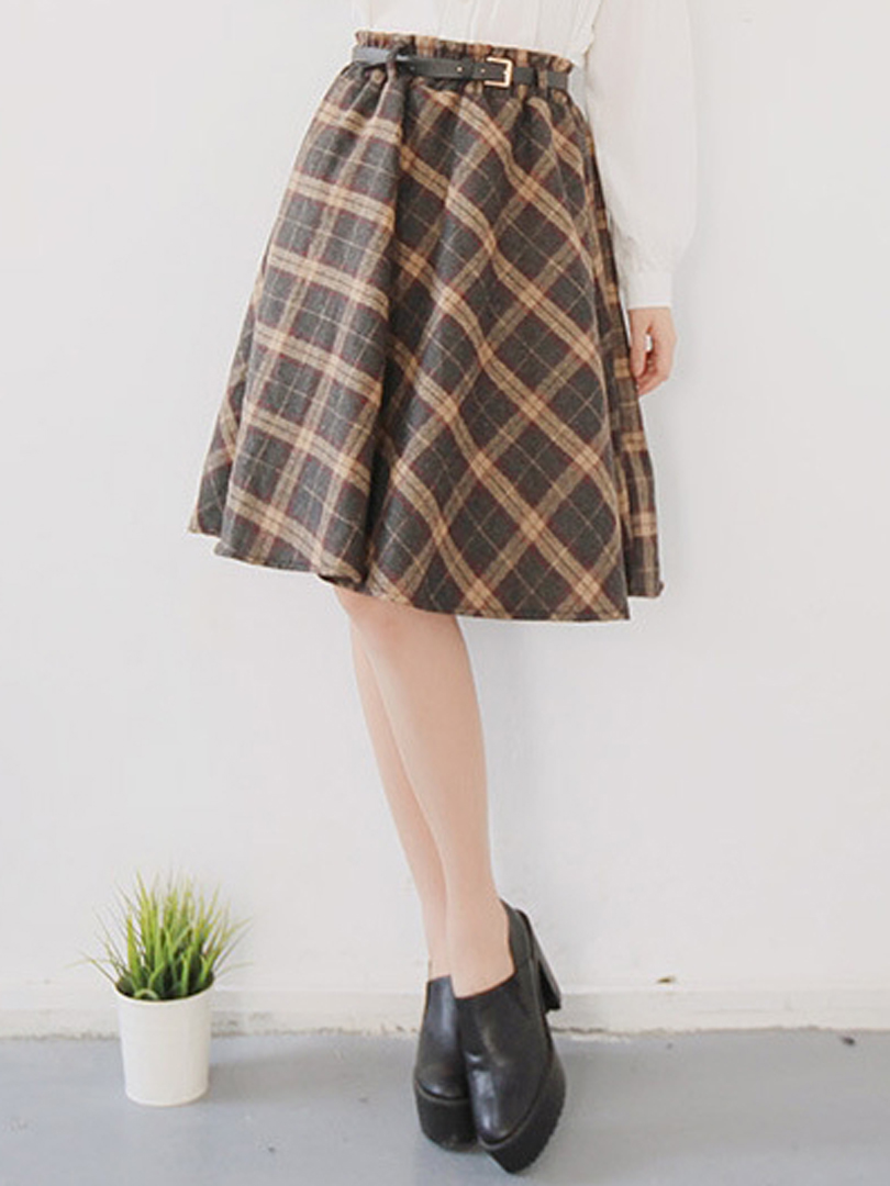 Brown Plaid Skirt