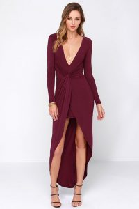 Burgundy Gown with Sleeves
