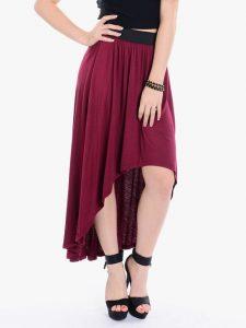 burgundy skirt dressed up