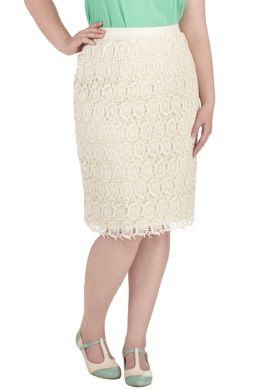 Cream Lace Pencil Skirt - Skirts
