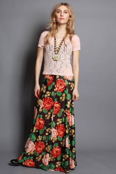 Long Floral Maxi Skirt - Dress Ala