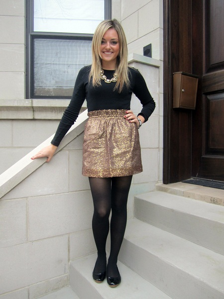 Gold Skirt Dressed Up Girl