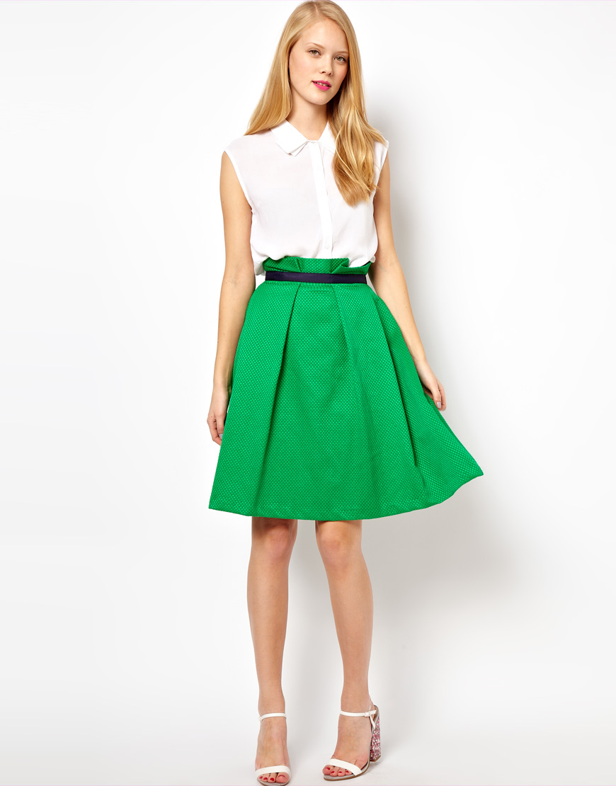 green skirt dressed up
