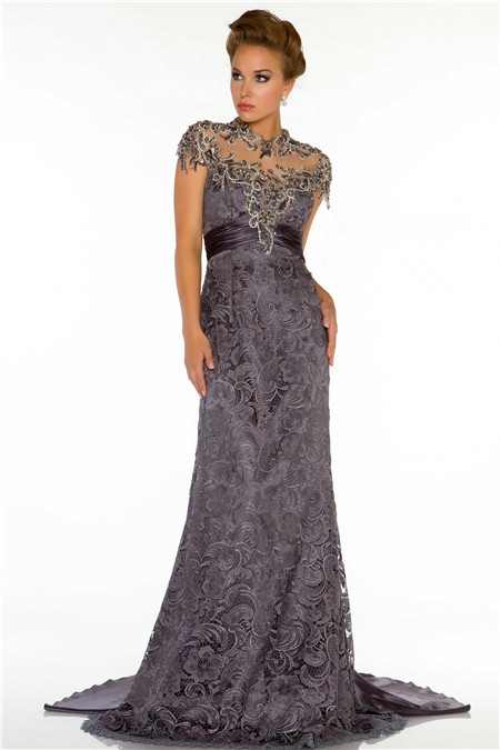 Grey lace evening dress