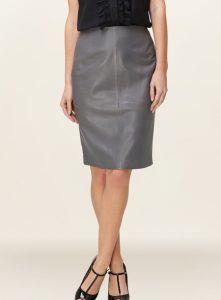 Grey Leather Skirt