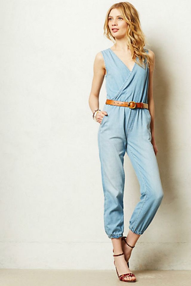 Denim Jumpsuits & Rompers. Denim jumpsuits and rompers are great options for the weekend and easily go from day to night with sexy heels or a cute cropped jacket. Made from quality stretch denim, denim jumpsuits for women are also super versatile and wearable year-round.