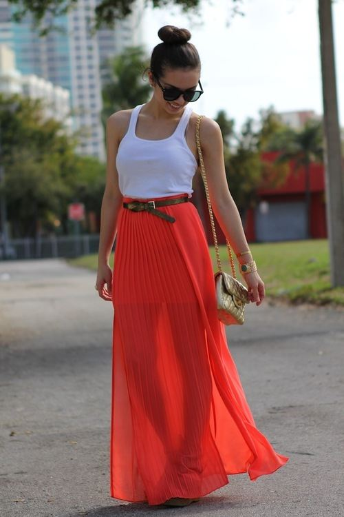 Red Flowy Skirt - Skirts