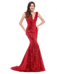 Long Red Sequin Gown