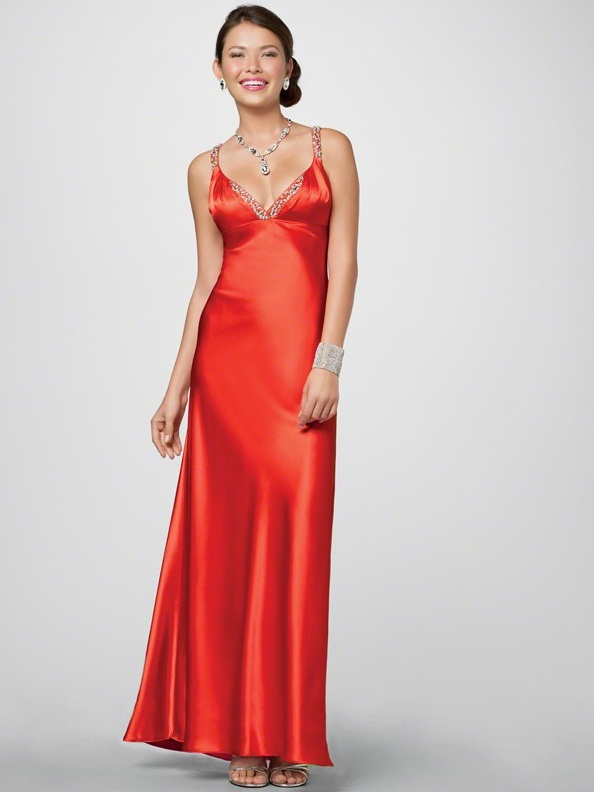 Images of Red Silk Long Dress - Reikian