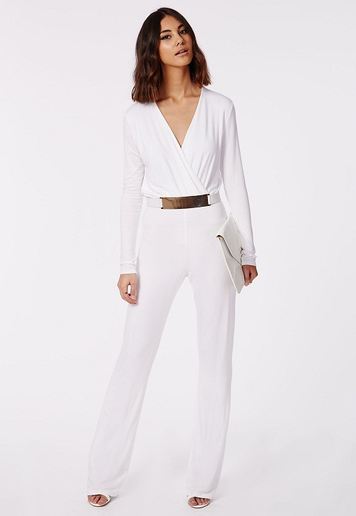 Luxury ASOS  ASOS Wrap Front Jumpsuit With Long Sleeves At ASOS