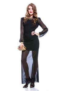 Long Sleeve Sheer Gown