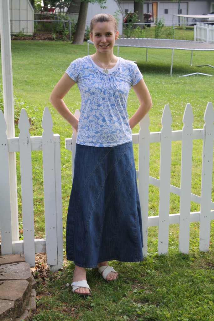 JM Layered Denim Skirt (FINAL SALE) | Knee length denim ... |Western Long Denim Skirts Modest