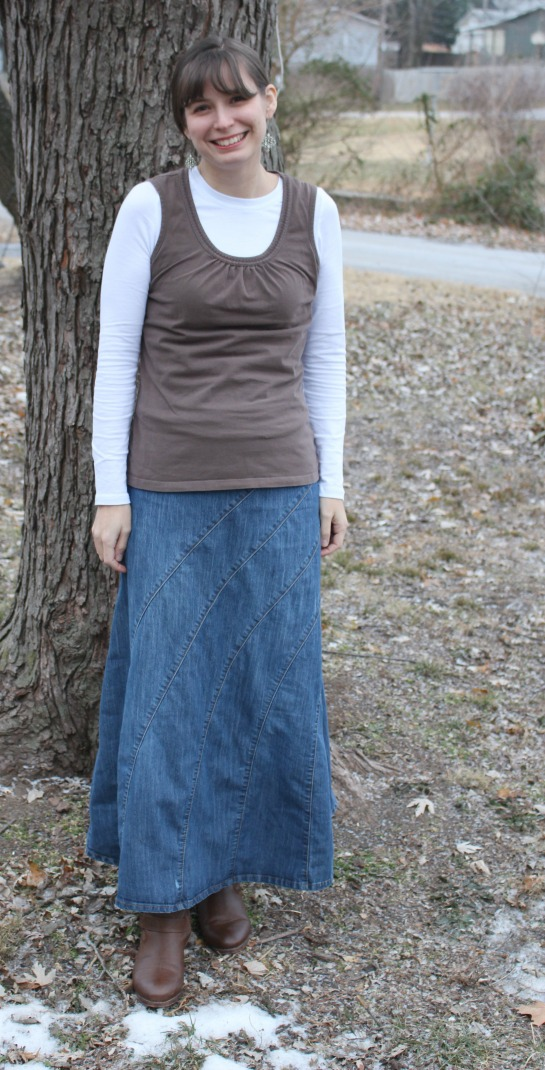 Jeanne San Francisco 9 Skirt Denim Long Modest Yoke ... |Western Long Denim Skirts Modest