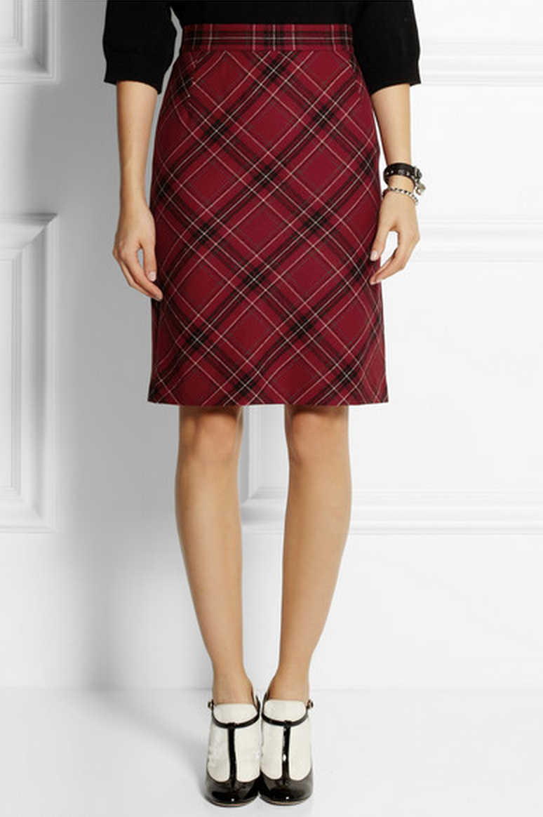 A.L.C. Thea Plaid Wool Pencil Skirt