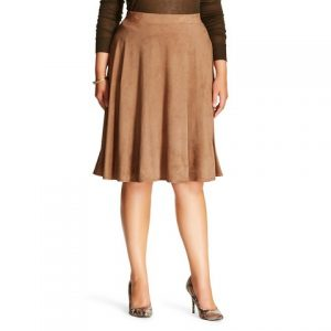 Plus Size Suede Skirt