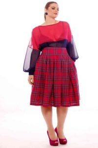 Plus Size Tartan Skirt