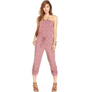 Printed Strapless Jumpsuit