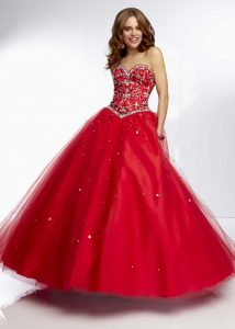 Red Sequin Ball Gown