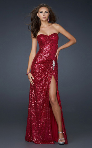 Images of Red Sequin Dress - Reikian