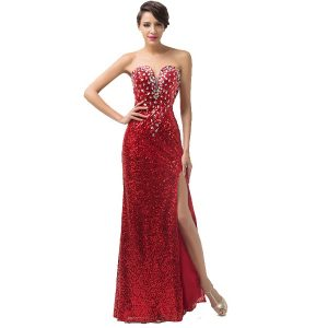 Red Sequin Strapless Gown