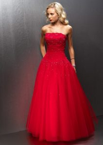Red Tulle Gown